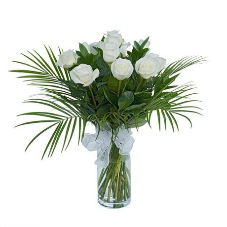 Μπουκέτο με 8 λευκά τριαντάφυλλα - Τριανταφυλλάκι ζηλευτό