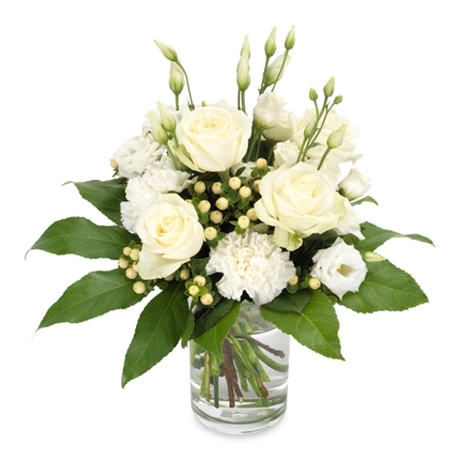 Μπουκέτο με 4 λευκά τριαντάφυλλα-Αιγαιοπελαγίτικο λευκό