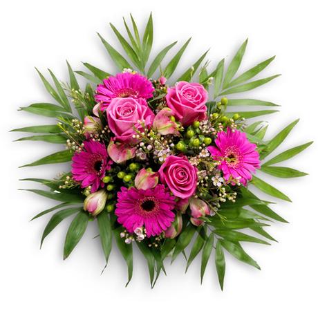 Μπουκέτο με ρόζ τριαντάφυλλα - Ζαχαρένια σύνθεση