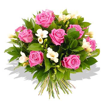 Μπουκέτο με ρόζ τριαντάφυλλα - Νότες δροσιάς